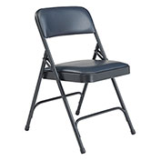 Premium Vinyl Upholstered Folding Chair - Midnight Blue Vinyl/Blue Frame - Pkg Qty 4
