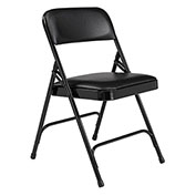 Vinyl Folding Chair - Black Vinyl/Black Frame - Pkg Qty 4