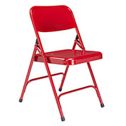 Steel Folding Chair - Premium with Double Brace - Red - Pkg Qty 4