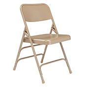 Premium All-Steel Triple Brace Double Hinge Folding Chair - Beige - Pkg Qty 4