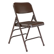 Premium All-Steel Triple Brace Double Hinge Folding Chair - Brown - Pkg Qty 4