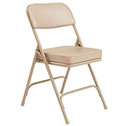 "2"" Vinyl Upholstered Seat Folding Chair - Double Braced Beige Fabric & Frame - Pkg Qty 2"