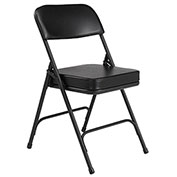 "Steel Folding Chair - 2"" Vinyl Seat - Double Brace - Black - Pkg Qty 2"