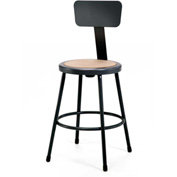 "NPS Heavy Duty Stool with Backrest - Round - Hardboard - 18""H - Black - Pkg Qty 5"