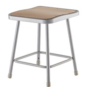 "NPS Heavy Duty Stool - Square - Hardboard - 18""H - Gray"