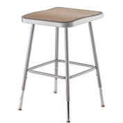 "NPS Heavy Duty Stool - Square - Hardboard - Height Adjustable 19"" - 27"" - Gray"