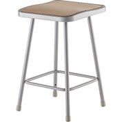 "NPS Heavy Duty Stool - Square - Hardboard - 24""H - Gray"
