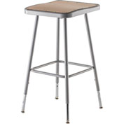 "NPS Heavy Duty Stool - Square - Hardboard - Height Adjustable 25"" - 32"" - Gray"
