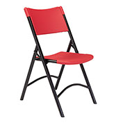 Blow Molded Resin Folding Chair - Red Plastic/Black Frame - Pkg Qty 4