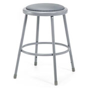 "24"" Vinyl Padded Stool - Backless - Gray"