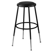 "25""-33"" Height Adjustable Vinyl Padded Stool - Backless - Black"