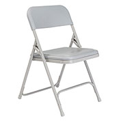 Premium Lightweight Plastic Folding Chair - Gray Seat & Back/Gray Steel Frame - Pkg Qty 4