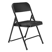 Premium Lightweight Plastic Folding Chair - Black Seat/Black Frame - Pkg Qty 4