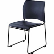 Stacking Chair - Vinyl - Black Seat with Black Frame - 8700 Series - Pkg Qty 4