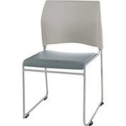 Stacking Chair - Vinyl - Gray Seat with Silver Frame - 8700 Series - Pkg Qty 4