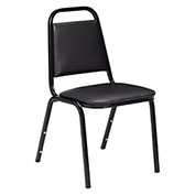 "Stacking Chair - 1-1/2"" Vinyl Seat - Square Back - Black Seat with Black Frame - Pkg Qty 4"