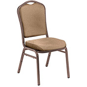 "Stacking Chair - 2"" Fabric Seat - Silhouette Back - Beige Seat with Copper Frame - Pkg Qty 2"