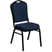 "Stacking Chair - 2"" Fabric Seat - Silhouette Back - Blue Seat with Black Frame - Pkg Qty 2"