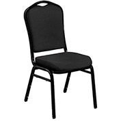 "Banquet Stacking Chair - 2"" Fabric Seat - Silhouette Back - Black Seat with Black Frame - Pkg Qty 2"