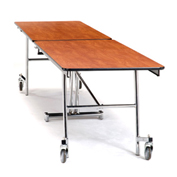 NPS® 10' Mobile Rectangular Table - Plywood with ProtectEdge - Powder Coat Frame - Banister Oak