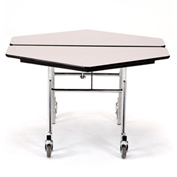 """NPS® 48"""" Mobile Hexagon Table - Plywood with ProtectEdge - Powder Coated Frame - Banister Oak"""