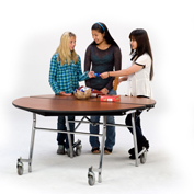 "NPS® 72"" Mobile Round Table - MDF with ProtectEdge - Chrome Frame - Banister Oak"