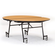 """NPS® 60"""" x 72"""" Mobile Oval Table - Plywood with ProtectEdge - Powder Coat Frame- Montana Walnut"""