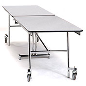 NPS® 8' Mobile Rectangular Table - MDF with ProtectEdge - Chrome Frame - Grey Nebula