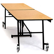 NPS® 8' Mobile Rectangular Table - MDF with ProtectEdge - Powder Coated Frame - Banister Oak