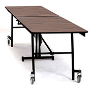 NPS® 8' Mobile Rectangular Table - MDF with ProtectEdge - Powder Coated Frame - Montana Walnut