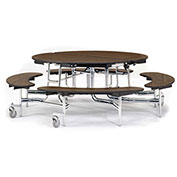"""NPS® 60"""" Round Chrome Frame Foldable Cafeteria Table w/ Bench Units & Particleboard Top Walnut"""