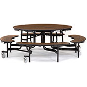 """NPS® 60"""" Round Black Frame Foldable Cafeteria Table w/ Bench Units & Particleboard Top Oak"""