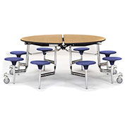 """NPS® 60"""" Round Chrome Cafeteria Table with 8 Stools Cherry MDF Core Top/Purple Stools"""