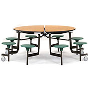 """NPS® 60"""" Round Black Cafeteria Table with 8 Stools Cherry MDF Core Top/Green Stools"""