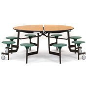 "NPS® 60"" Round Black Cafeteria Table with 8 Stools Oak MDF Core Top/Purple Stools"