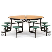"NPS® 60"" Round Black Cafeteria Table with 8 Stools Cherry Particleboard Core Top/Blue Stools"