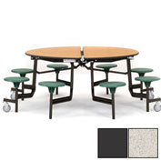 "NPS® 60"" Round Black Cafeteria Table with 8 Stools Gray Particleboard Core Top/Gray Stools"