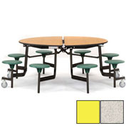 "NPS® 60"" Round Black Cafeteria Table with 8 Stools Gray Particleboard Core Top/Yellow Stools"
