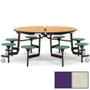 "NPS® 60"" Round Black Cafeteria Table with 8 Stools Gray Particleboard Core Top/Purple Stools"