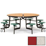 "NPS® 60"" Round Black Cafeteria Table with 8 Stools Gray Particleboard Core Top/Red Stools"