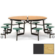 "NPS® 60"" Round Black Cafeteria Table with 8 Stools Oak Particleboard Core Top/Gray Stools"