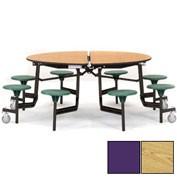 "NPS® 60"" Round Black Cafeteria Table with 8 Stools Oak Particleboard Core Top/Purple Stools"
