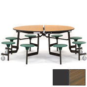 """NPS® 60"""" Round Black Cafeteria Table with 8 Stools Walnut Particleboard Core Top/Gray Stools"""