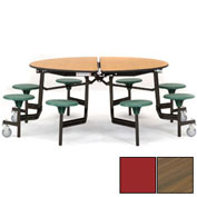 "NPS® 60"" Round Black Cafeteria Table with 8 Stools Walnut Particleboard Core Top/Red Stools"