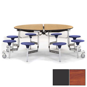 "NPS® 60"" Round Chrome Cafeteria Table with 8 Stools Cherry Plywood Core Top/Gray Stools"