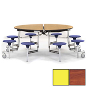 "NPS® 60"" Round Chrome Cafeteria Table with 8 Stools Cherry Plywood Core Top/Yellow Stools"