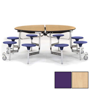 "NPS® 60"" Round Chrome Cafeteria Table with 8 Stools Maple Plywood Core Top/Purple Stools"