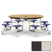 "NPS® 60"" Round Chrome Cafeteria Table with 8 Stools Gray Plywood Core Top/Gray Stools"