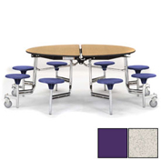 "NPS® 60"" Round Chrome Cafeteria Table with 8 Stools Gray Plywood Core Top/Purple Stools"