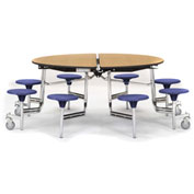 """NPS® 60"""" Round Chrome Cafeteria Table with 8 Stools Oak Plywood Core Top/Blue Stools"""